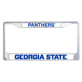 Metal License Plate Frame in Chrome-Panthers
