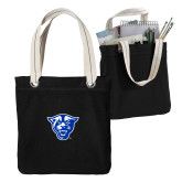 Allie Black Canvas Tote-Panther Head