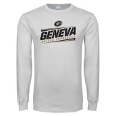 White Long Sleeve T Shirt-Slanted Geneva Stencil with Lines
