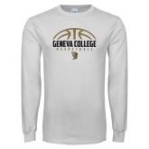 White Long Sleeve T Shirt-Geneva College Basketball Half Ball