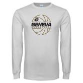 White Long Sleeve T Shirt-Geneva College Basketball  Lined Ball