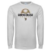 White Long Sleeve T Shirt-Geneva College Soccer Stacked