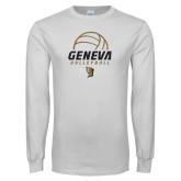 White Long Sleeve T Shirt-Geneva Volleyball Half Ball