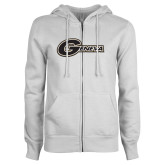 ENZA Ladies White Fleece Full Zip Hoodie-Geneva