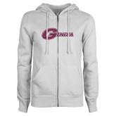 ENZA Ladies White Fleece Full Zip Hoodie-Primary Mark Pink Glitter