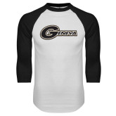 White/Black Raglan Baseball T Shirt-Geneva