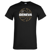 Black T Shirt-Geneva College Basketball  Lined Ball