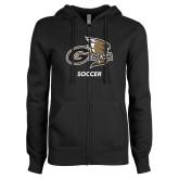 ENZA Ladies Black Fleece Full Zip Hoodie-Soccer