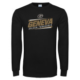 Black Long Sleeve T Shirt-Slanted Geneva Stencil with Lines