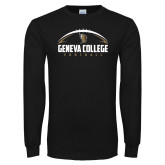 Black Long Sleeve T Shirt-Geneva College Football Half Ball