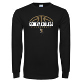 Black Long Sleeve T Shirt-Geneva College Basketball Half Ball