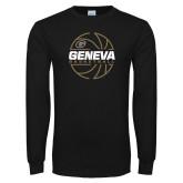 Black Long Sleeve T Shirt-Geneva College Basketball  Lined Ball