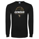Black Long Sleeve T Shirt-Geneva Volleyball Half Ball