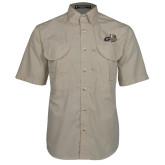 Khaki Short Sleeve Performance Fishing Shirt-Geneva Tornado