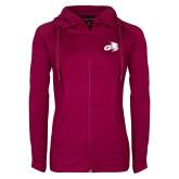 Ladies Sport Wick Stretch Full Zip Deep Berry Jacket-Geneva Tornado Tone