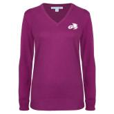 Ladies Deep Berry V Neck Sweater-Geneva Tornado Tone
