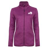 Dark Pink Heather Ladies Fleece Jacket-Geneva Tornado Tone