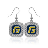 Crystal Studded Square Pendant Silver Dangle Earrings-G
