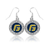 Crystal Studded Round Pendant Silver Dangle Earrings-G
