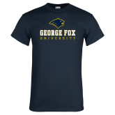 Navy T Shirt-George Fox University w/ Bruin Head