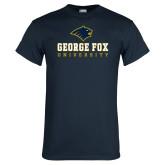 Navy T Shirt-George Fox University w/ Bruin Head
