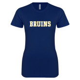 Next Level Ladies SoftStyle Junior Fitted Navy Tee-Bruins