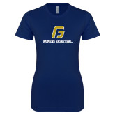Next Level Ladies SoftStyle Junior Fitted Navy Tee-Basketball-Women's