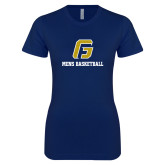 Next Level Ladies SoftStyle Junior Fitted Navy Tee-Basketball-Men's