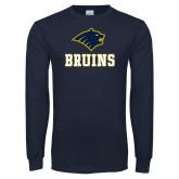 Navy Long Sleeve T Shirt-Mascot Bruins Stacked