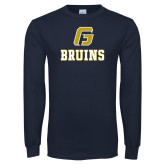 Navy Long Sleeve T Shirt-G Bruins Stacked