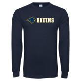 Navy Long Sleeve T Shirt-Bear Head Bruins Flat