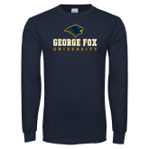 Navy Long Sleeve T Shirt-George Fox University w/ Bruin Head
