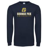 Navy Long Sleeve T Shirt-George Fox University w/ G