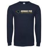Navy Long Sleeve T Shirt-George Fox University w/ Bear Flat
