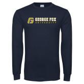 Navy Long Sleeve T Shirt-George Fox University w/ G Flat