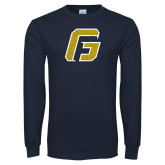 Navy Long Sleeve T Shirt-G Distressed