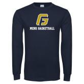 Navy Long Sleeve T Shirt-Basketball-Men's
