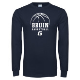 Navy Long Sleeve T Shirt-Basketball Design
