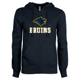 ENZA Ladies Navy Fleece Full Zip Hoodie-Mascot Bruins Stacked