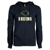 ENZA Ladies Navy Fleece Full Zip Hoodie-Mascot Bruins Stacked