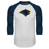 White/Navy Raglan Baseball T-Shirt-Bear Head