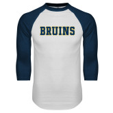 White/Navy Raglan Baseball T-Shirt-Bruins