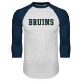 White/Navy Raglan Baseball T-Shirt-Bruins