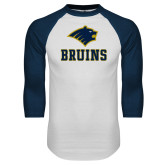 White/Navy Raglan Baseball T-Shirt-Mascot Bruins Stacked