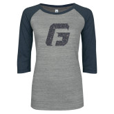 ENZA Ladies Athletic Heather/Navy Vintage Triblend Baseball Tee-G Graphite Soft Glitter