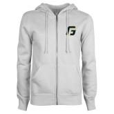 ENZA Ladies White Fleece Full Zip Hoodie-G