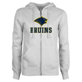 ENZA Ladies White Fleece Full Zip Hoodie-Mascot Bruins Stacked