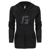 ENZA Ladies Black Light Weight Fleece Full Zip Hoodie-G Graphite Soft Glitter