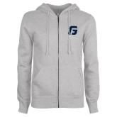 ENZA Ladies Grey Fleece Full Zip Hoodie-G