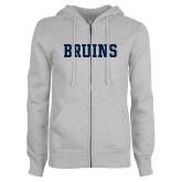 ENZA Ladies Grey Fleece Full Zip Hoodie-Bruins